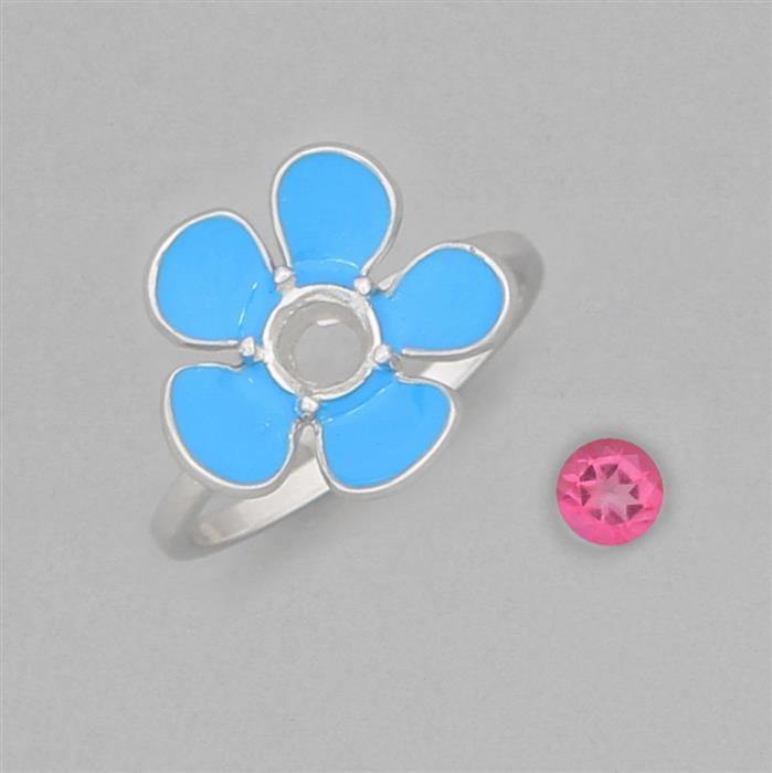 Size 7 925 Sterling Silver Sky Blue Enamelled Colour Ring Mount Fits 5mm Round Inc. 0.55cts Mystic Pink Topaz 5mm Round