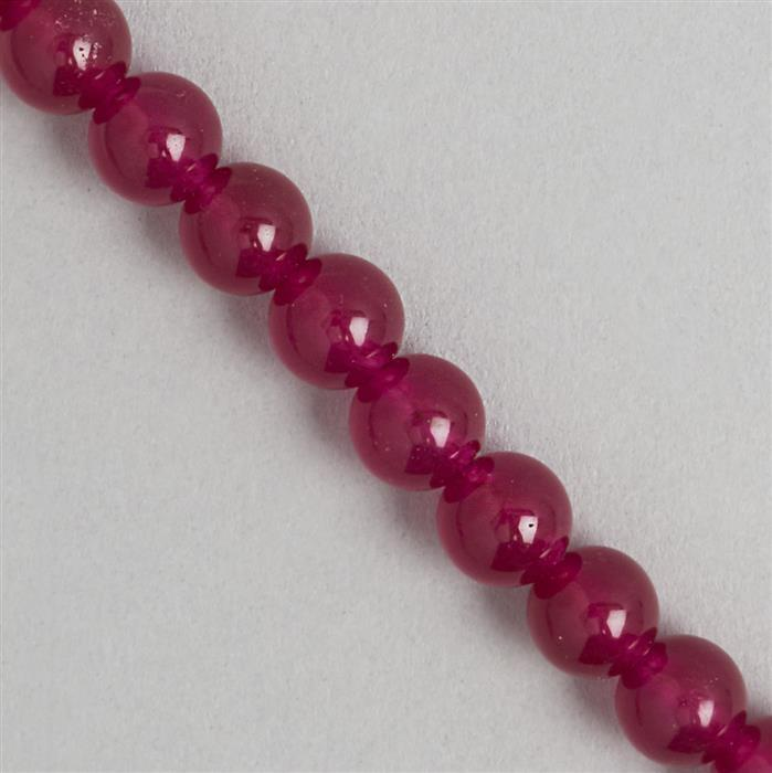 245cts Red Colour Dyed Quartz Plain Rounds Approx 9mm, 36cm Strand.