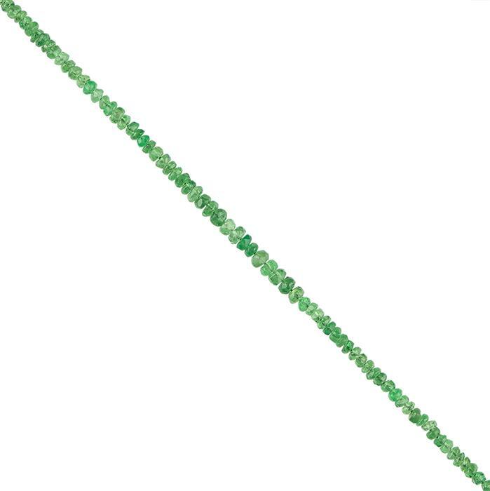 10cts Tsavorite Garnet Faceted Rondelles Approx 2x1mm, 18cm Strand.