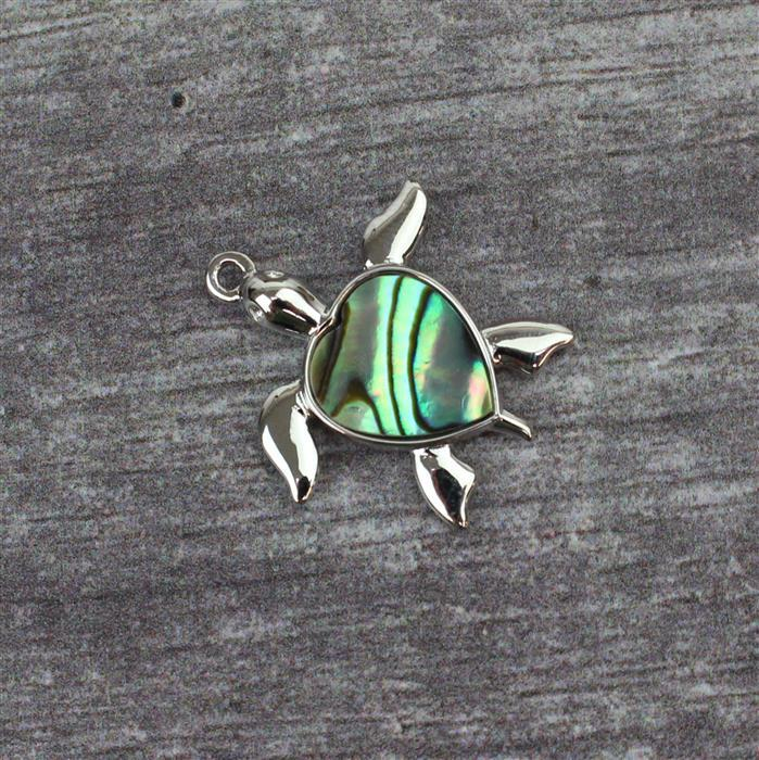 925 Sterling Silver Turtle Abalone Pendant Approx 20mm