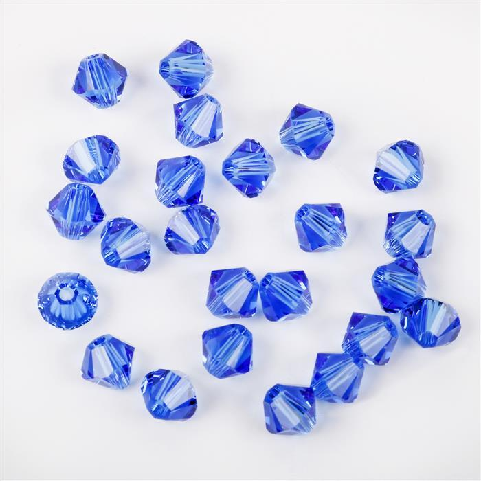 Swarovski Crystal Beads - Pack of 24 Bicones 5328 - 4mm Sapphire