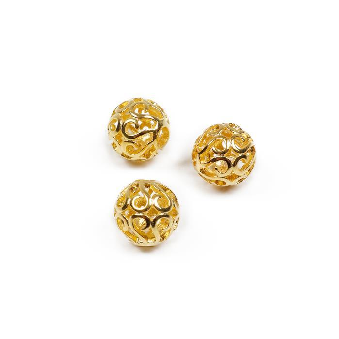 Gold Plated 925 Silver Filigree Ball Spacers Approx 8mm, 3 Pcs