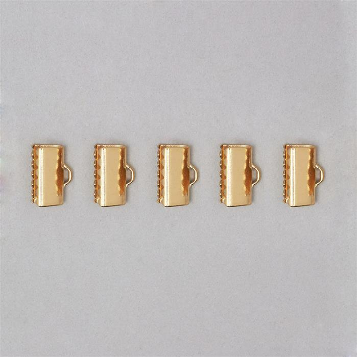 Gold Plated Copper Fold Over Clasp 13mm (5pcs)