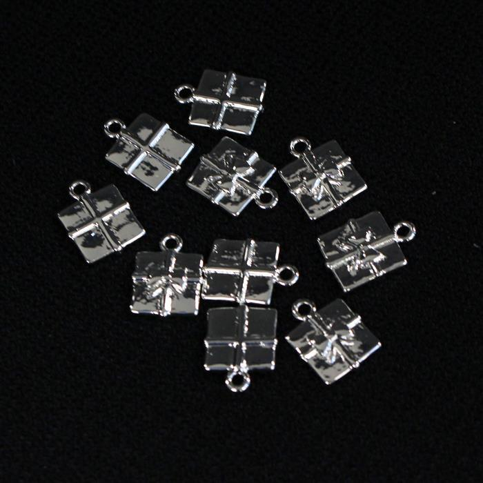 Silver Plated Base Metal Present Charms Approx 12x12mm (10pcs)