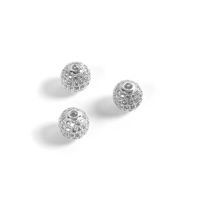 Silver Coloured Base Metal CZ Round Beads, 10mm (3pk)