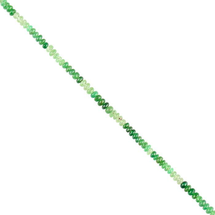 25cts Ombre Tsavorite Garnet Graduated Plain Rondelles Approx 3x1 to 4x2mm, 16cm Strand.