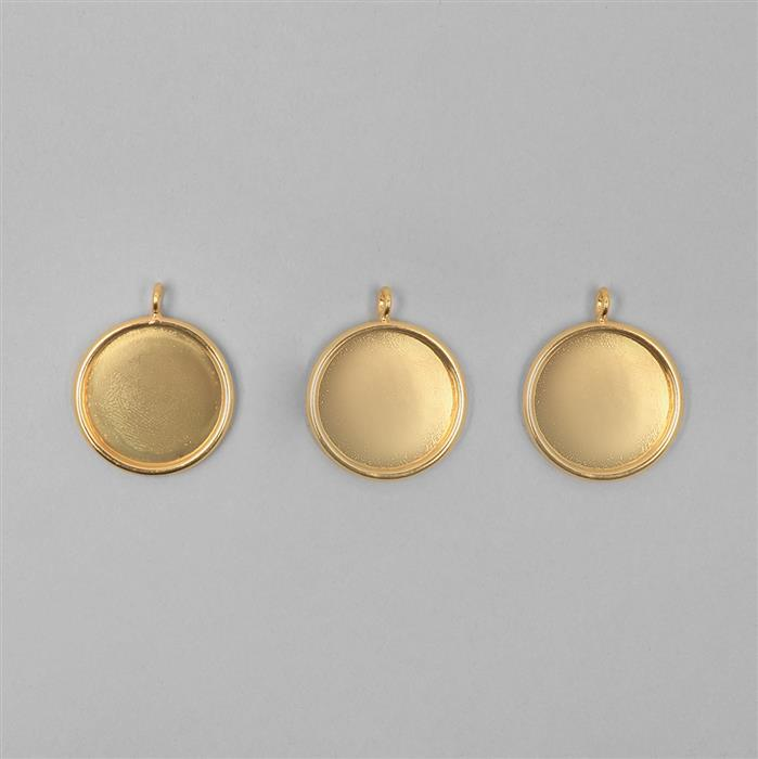 Gold Plated Round Bezel Pendants Approx 20mm - 3pcs