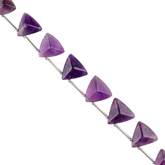 75cts Amethyst Graduated Faceted Trilliants Approx 12 to 15mm, 14cm Strand.