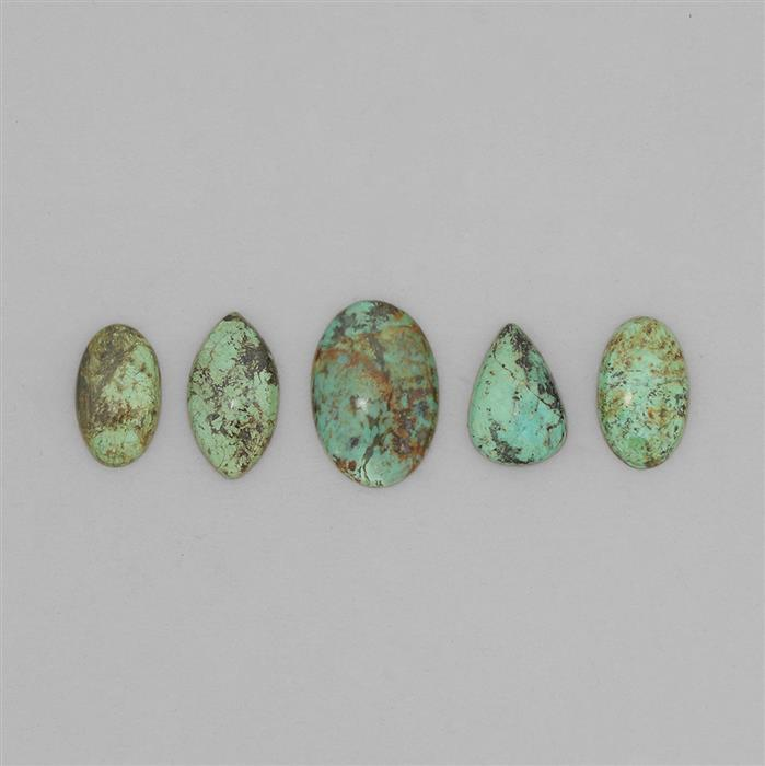 110cts Tibetan Turquoise Smooth Multi-Shape Cabochon Assortment.