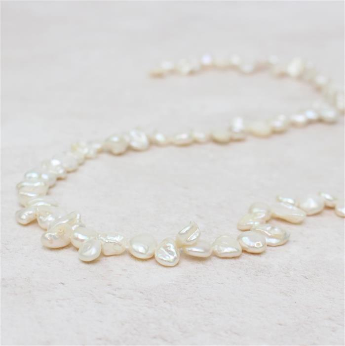 White Freshwater Cultured Top Drilled Keshi Pearls Approx 6x5-10x7mm, 38cm Strand