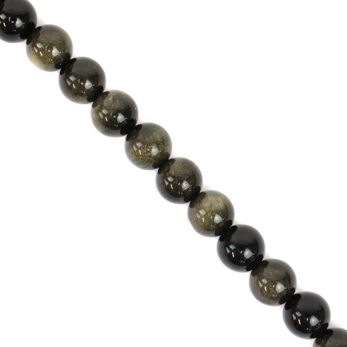 150cts Golden Obsidian Plain Rounds Approx 8mm 38cm strand