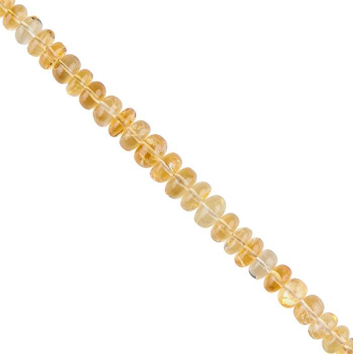 85cts Citrine Graduated Plain Rondelles Approx 6x3 to 9x5mm, 16cm Strand.
