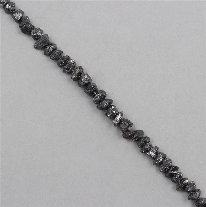 8cts Black Diamond Graduated Rough Nuggets Approx 1x1 to 4x1mm, 16cm Strand.