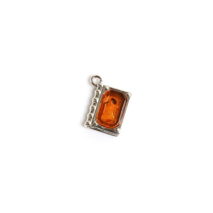 Baltic Cognac Amber Book Charm Approx 15x12mm Sterling Silver