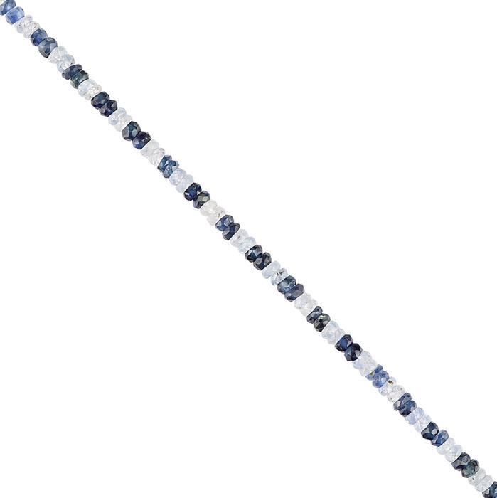 15cts Multi-Colour Blue Sapphire Faceted Rondelles Approx 2x1mm, 18cm Strand.