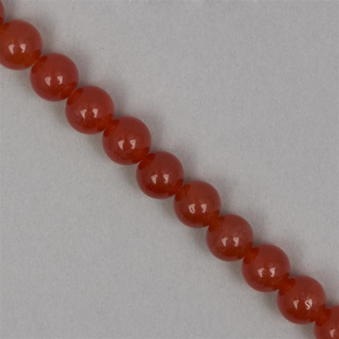 245cts Orange Colour Dyed Quartz Plain Rounds Approx 10mm, 35cm Strand.