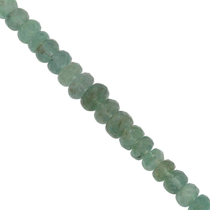 28cts Ethiopian Emerald Graduated Faceted Rondelles Approx 3x1.25 to 5x3.5mm, 20cm Strand