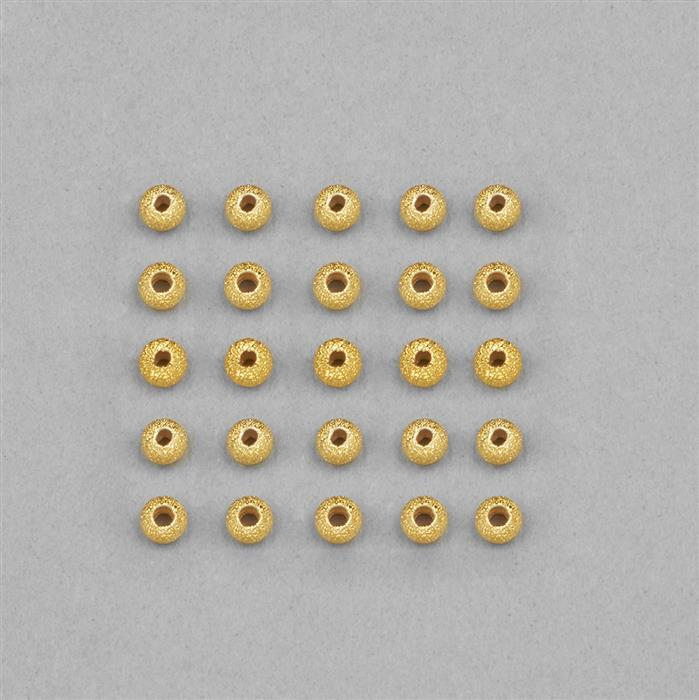 Gold Plated 925 Silver Stardust Beads Approx 4mm (20pcs)