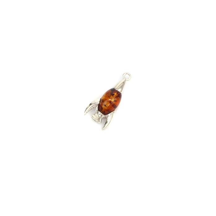 Baltic Cognac Amber Fancy Bead Rocket 925 Silver Charm Approx 22x11mm