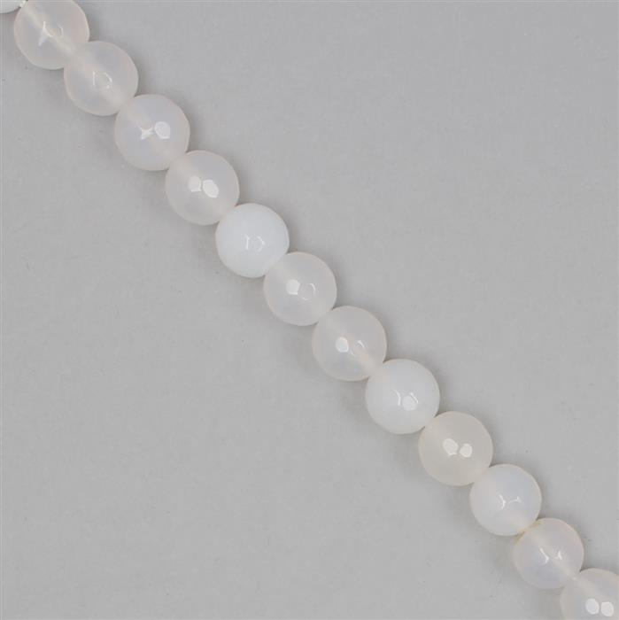 165cts White Agate Faceted Rounds Approx 7mm, 36cm Strand.