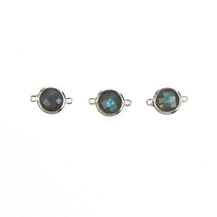 925 Sterling Silver Bezel Connectors Approx 14x10mm Inc. 5cts Labradorite Briolette Round Approx 8mm. (Pack of 3)