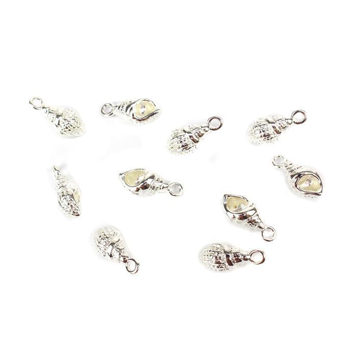 Silver Plated Base Metal Conch Shell Charms, Approx 16x7mm (10pcs)