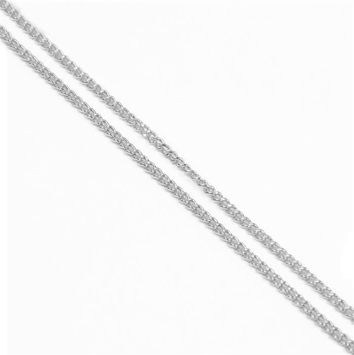 3m Silver Plated Brass Curb Chain 1x1.6mm