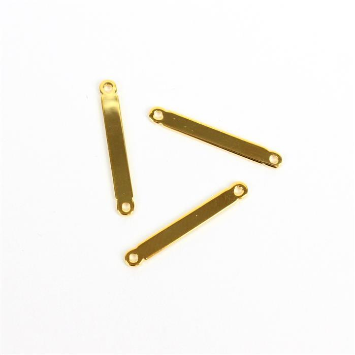 Gold Plated 925 Sterling Silver Bar Connectors Approx 2x20mm (3pcs)