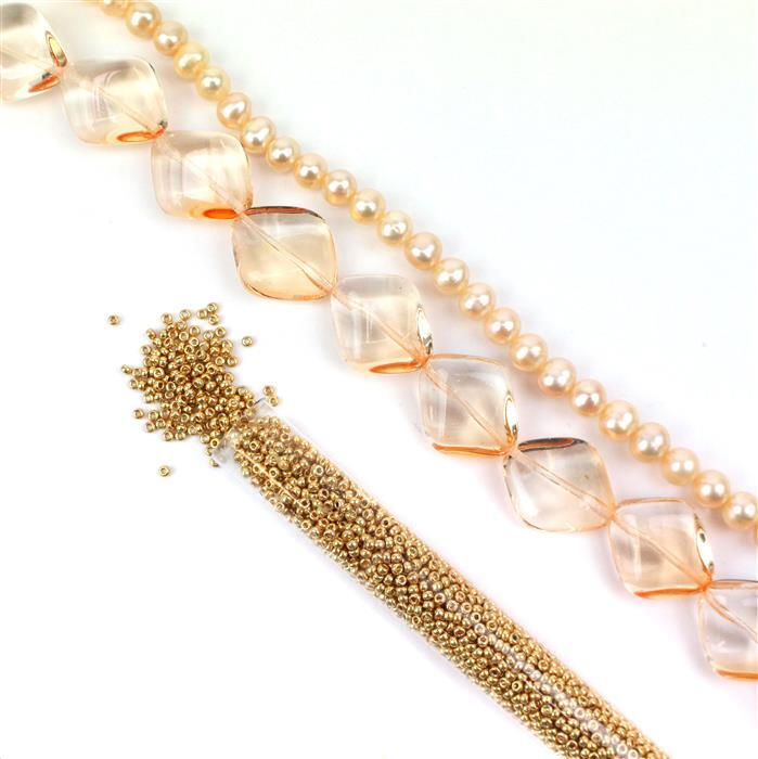 Sunny Days:Czech Glass Summer Diamond Tangerine Beads, Peach Pearls,11/0s