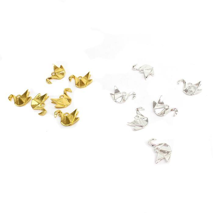 Origami Swans. Inc Silver Plated & Gold Colour Swan Charms (6pcs/ea)