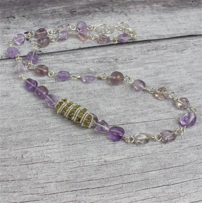 Amethyst Noir: Labradorite Faceted Rounds, Amethyst Nuggets, 0.25mm & 1.0mm Silver Wire