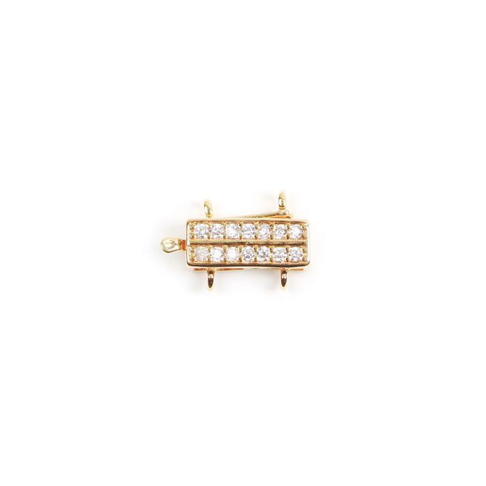 Gold Plated Base Metal CZ Set 2 Strand Box Clasp Approx 17x11mm (1pc)