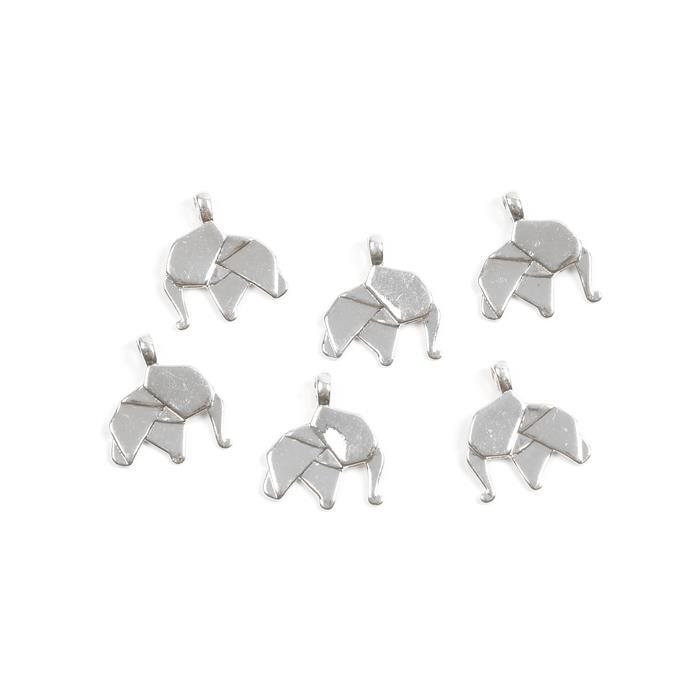 Silver Plated Base Metal Origami Elephant Charms, Approx 17x19mm (6pcs)