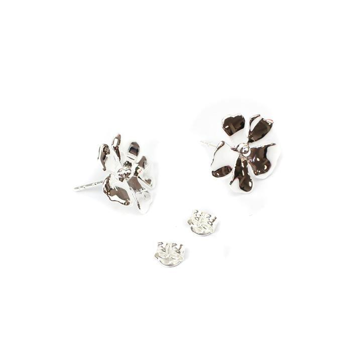 925 Sterling Silver Daisy Flower Earring Post With Butterfly Approx 15mm,1 pair