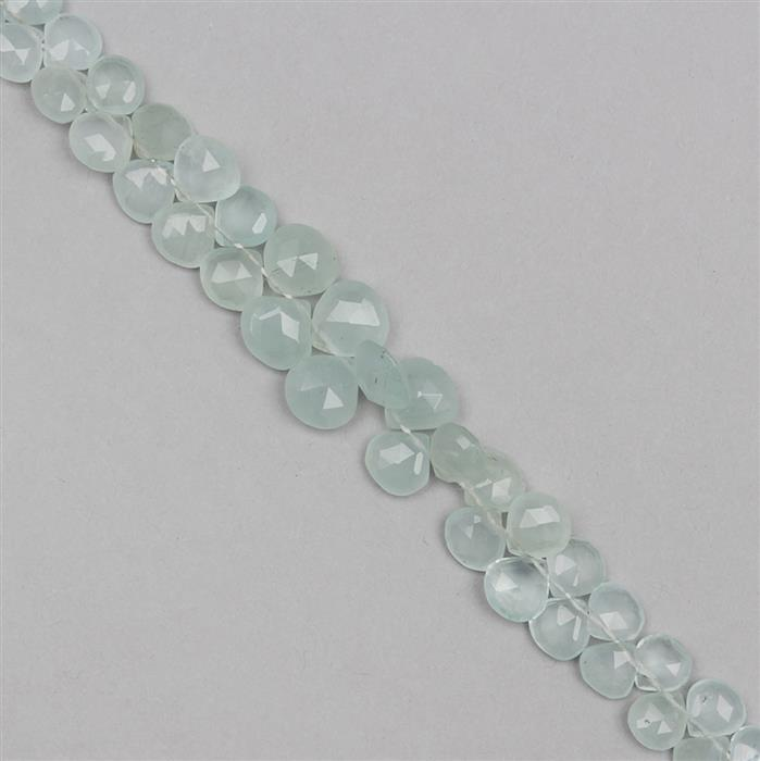 63cts Milky Aquamarine Graduated Faceted Drops Approx From 5 to 8mm, 16cm Strand.