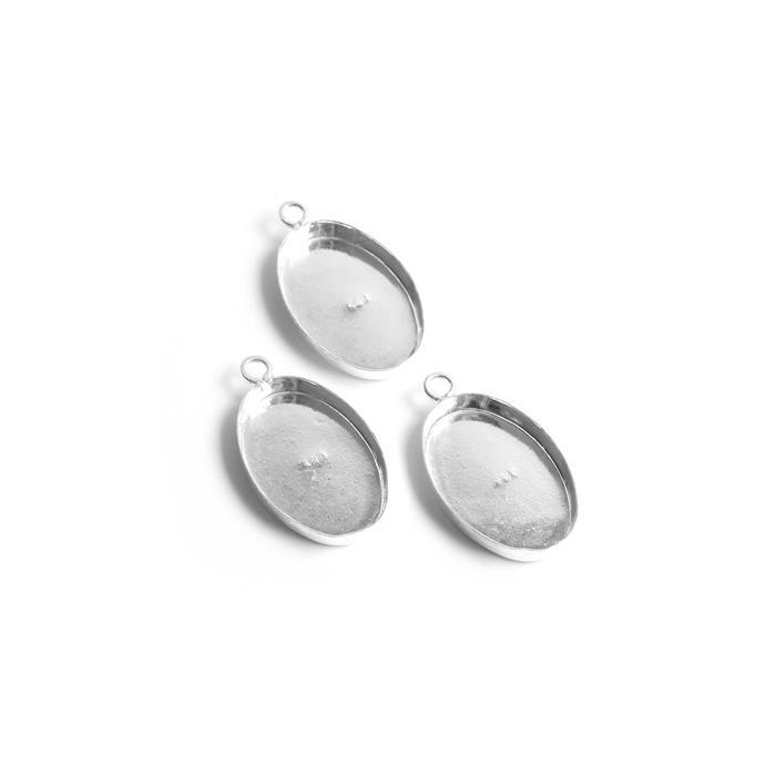 925 Sterling Silver Oval Bezel Pendant Approx 22x15mm, (Pack of 3Pcs)