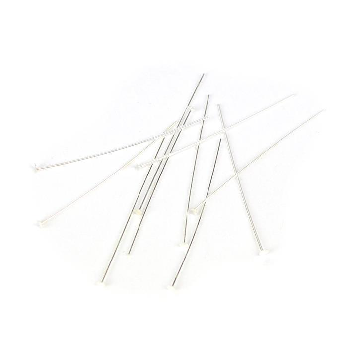 925 Sterling Silver Headpins - 40mm (0.6mm) - (10pcs/pk)