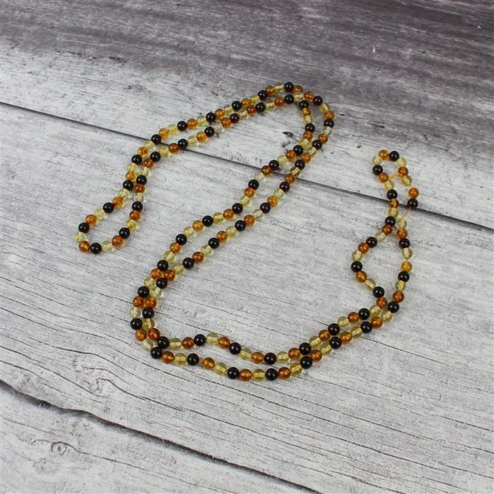 Baltic Multi-Colour Amber Round Beads Approx 5mm Strand 1 Metre