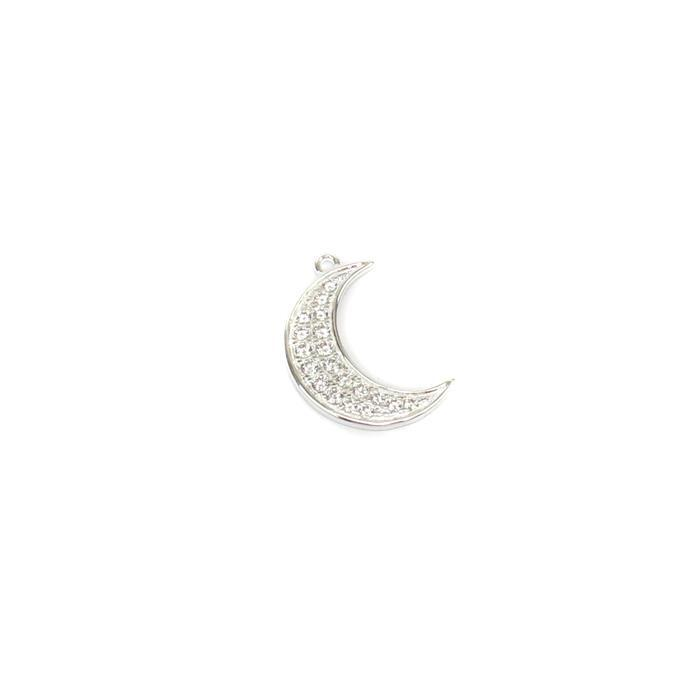 Sterling Silver Cubic Zirconia Moon Pendant Approx 18mm, 1pcs