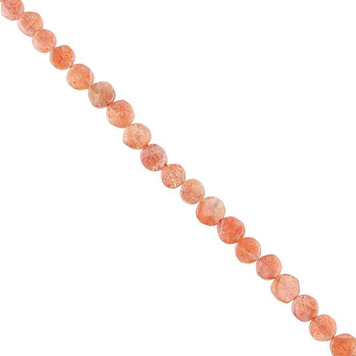 30cts Sunstone Graduated Plain Irregular Coins Approx 4 to 5mm, 18cm Strand.