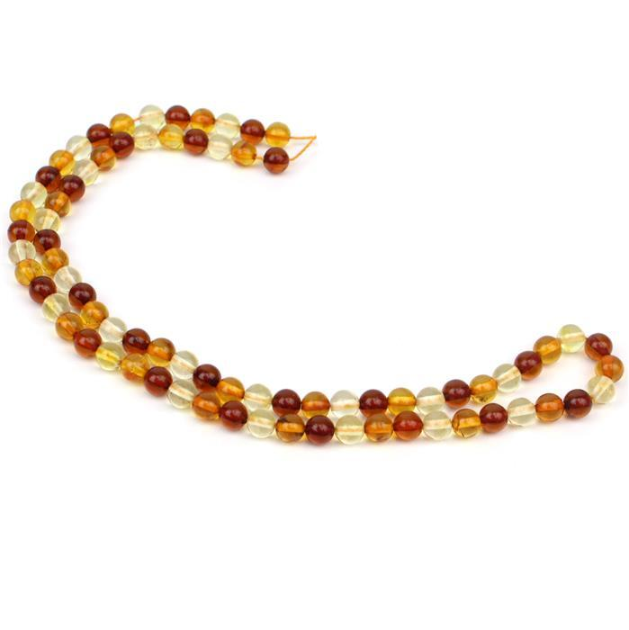 Baltic Multi-Colour Amber Round Bead 5mm Strand 38cm