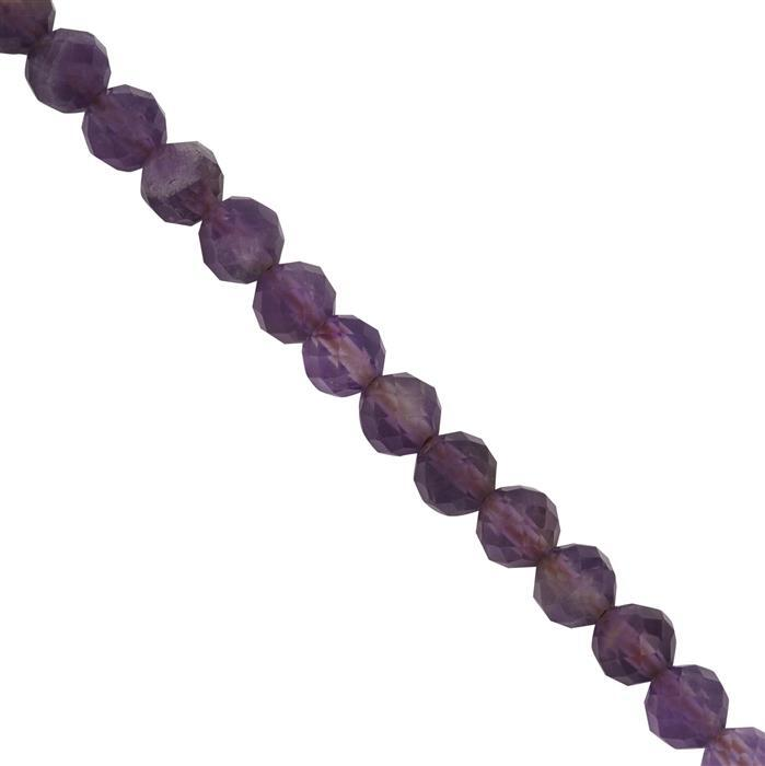40cts Zambian Amethyst Faceted Round Seed Beads Approx 4mm, 39cm Strand