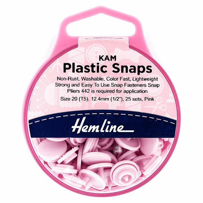 Pink Plastic Snaps: 25 x 12.4mm