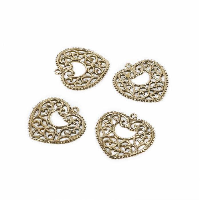 Polished Brass Heart Filigree Charm - 27mm (4pcs)