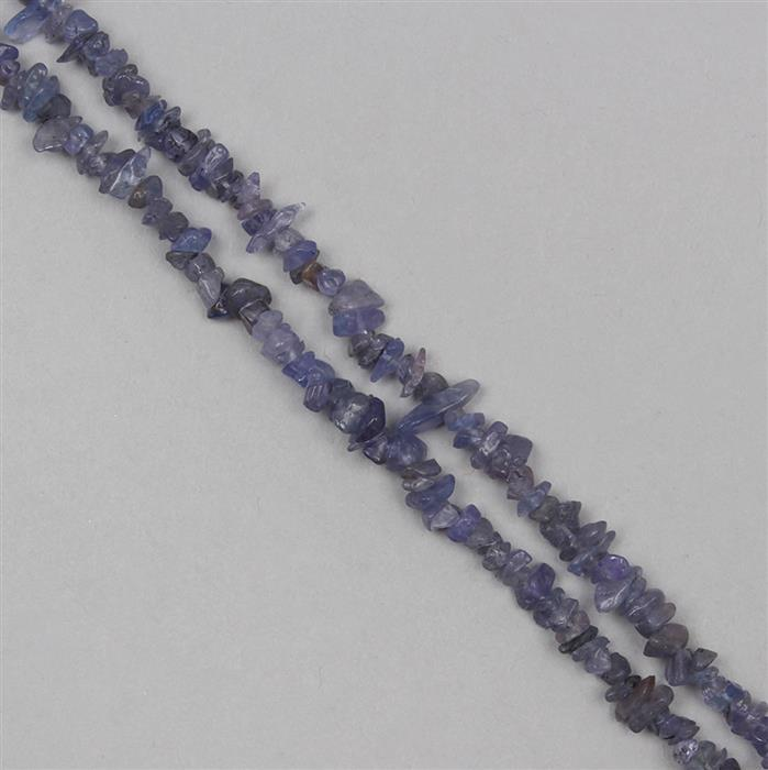 120cts Tanzanite Plain Small Nuggets Approx 1x1 to 7x2mm, 85cm Strand.