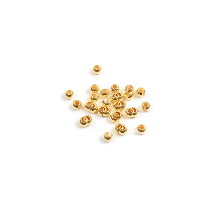 Gold Plated 925 Sterling Silver Crimp Covers Approx 4mm (30pcs)
