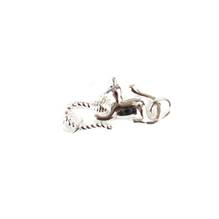 925 Sterling Silver Cat Connecter with two end rings Approx 11x25mm 1pc