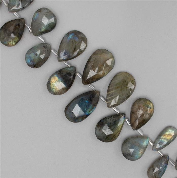 250cts Labradorite Graduated Faceted Elongated Pears Approx 12x8 to 23x13mm, 22cm Strand.