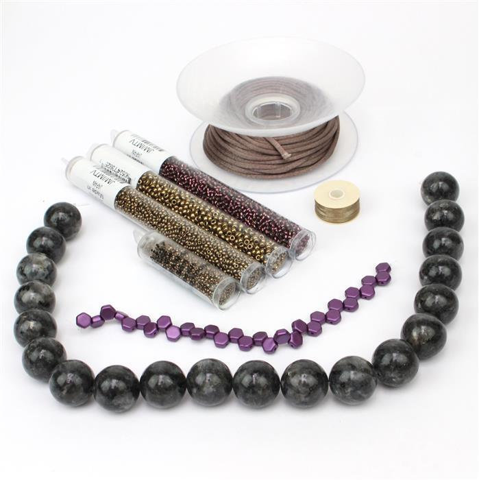 Honeycomb No2: Honeycomb Pastel Bordeaux 6mm, Larvikite, Seedbeads, Satin Cord