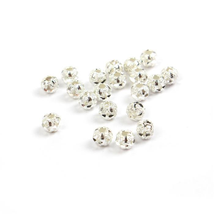 925 Sterling Silver Round Stardust Fancy Cut Spacer Beads Approx 3.5mm (20pcs)